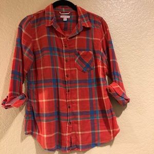 Merona Rainbow Plaid Button-Up Blouse